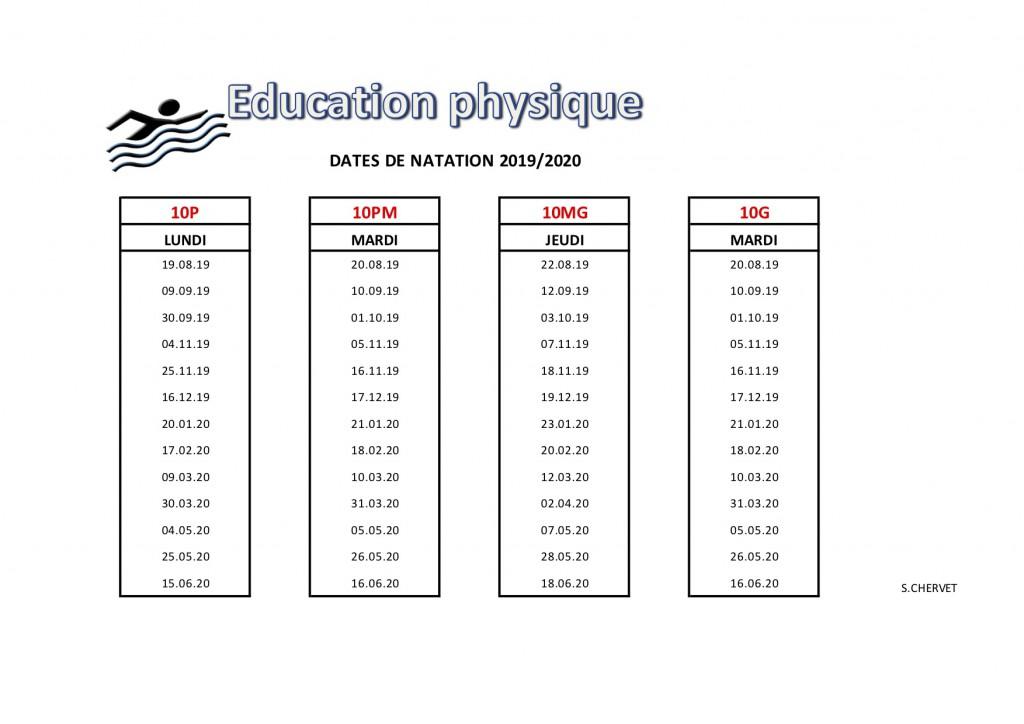 EP 10e natation 1er Sem 2019-2020