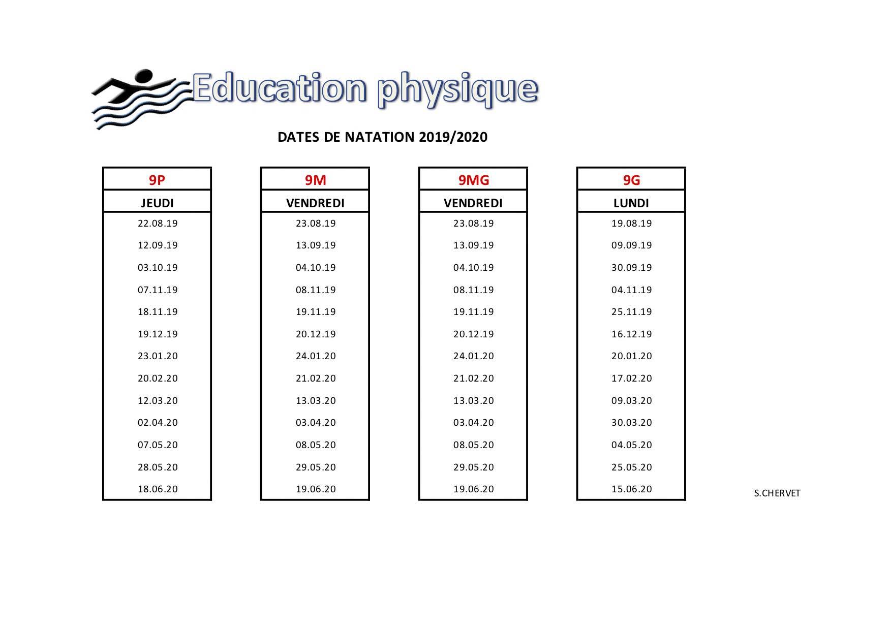 Ep 9e natation 1er Sem 2019-2020