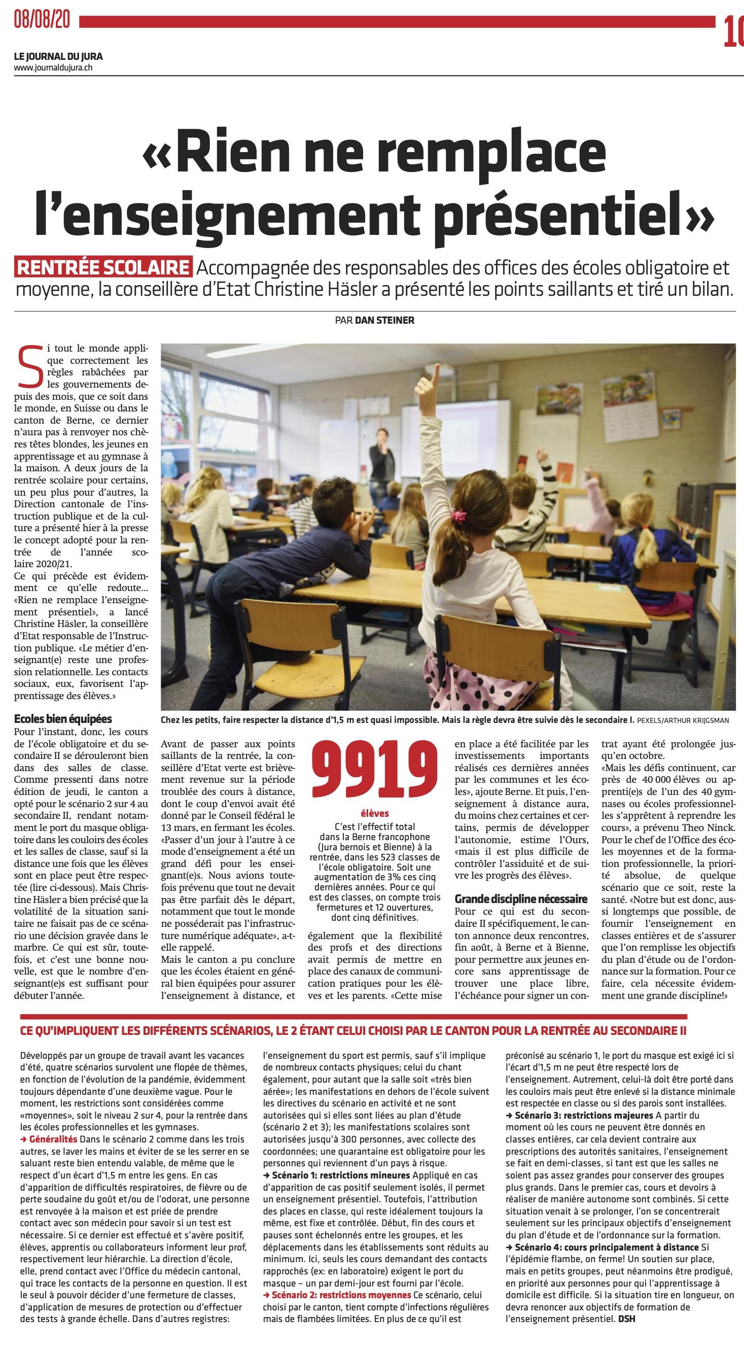 JdJ8.8.20 rentrée scolaire 2020