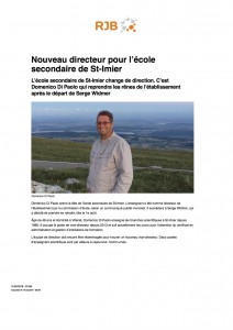 Nouveau directeur pour l'école secondaire de St-Imier - RJB votre radio régionale