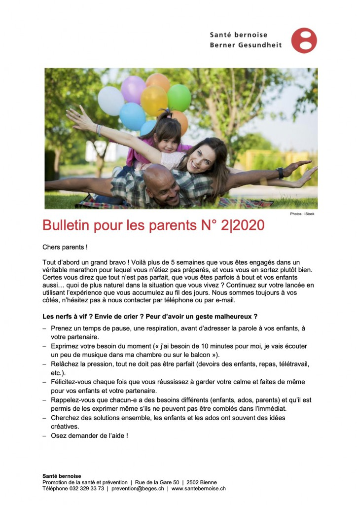 Santé Bernoise Bulletin_parents_corona_2_fr p.1