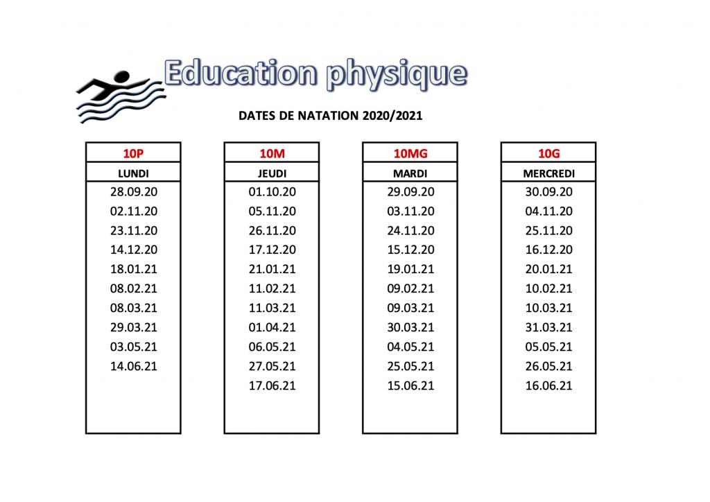 Dates NATATION 2020-2021 10e